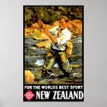Viaje de Nueva Zelanda del vintage Posters