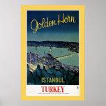 Viaje de oro de Estambul Turquía del cuerno del vi Posters