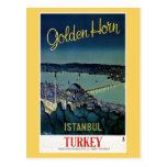 Viaje de oro de Estambul Turquía del cuerno del vi Postales