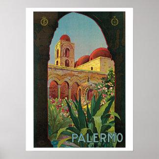Viaje de Palermo Sicilia de los años 20 del vintag Póster