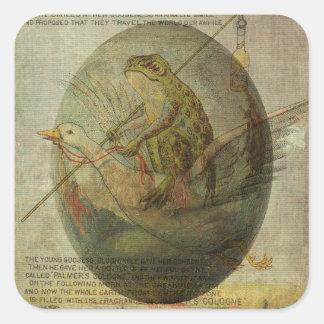 Viaje de Pascua del ganso y de la rana Pegatina Cuadrada
