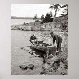 Viaje de pesca de la bahía del pescado blanco, póster