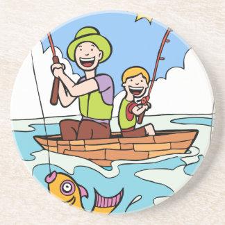 Viaje de pesca del padre y del hijo posavasos personalizados