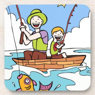 Viaje de pesca del padre y del hijo posavasos