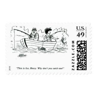 Viaje de pesca timbres postales