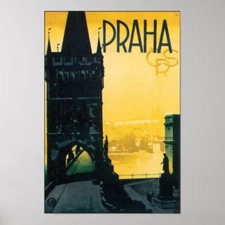 Viaje de Praga del vintage (Praga) Póster