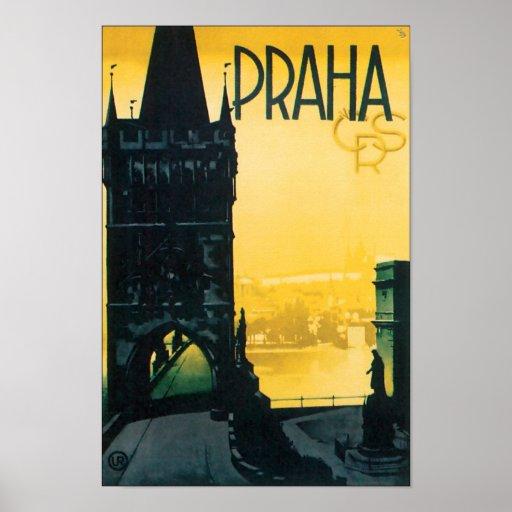 Viaje de Praga del vintage (Praga) Poster