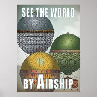 Viaje de Steampunk del trío del dirigible del glob Poster