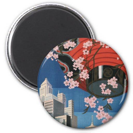 Viaje de Tokio del vintage Imán Redondo 5 Cm