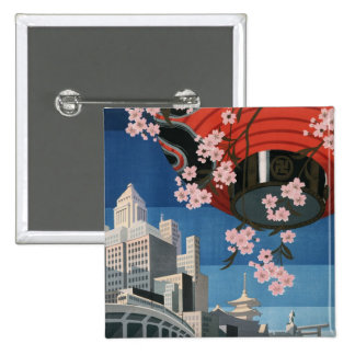 Viaje de Tokio del vintage Pin Cuadrado