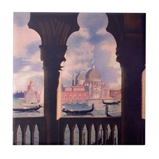 Viaje de Venecia Italia del vintage Azulejo Cerámica