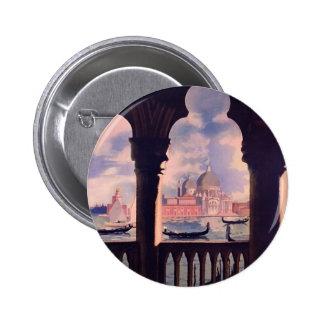 Viaje de Venecia Italia del vintage Pin Redondo De 2 Pulgadas