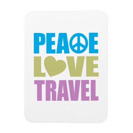 Viaje del amor de la paz iman rectangular