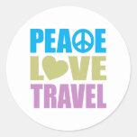 Viaje del amor de la paz pegatina redonda