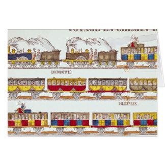Viaje del carril en 1845 tarjeta de felicitación