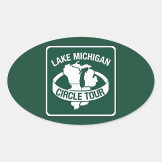 Viaje del círculo del lago Michigan, muestra, Pegatina Ovalada