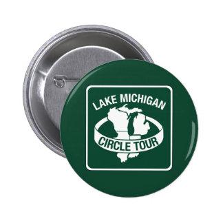 Viaje del círculo del lago Michigan, muestra, Pin Redondo De 2 Pulgadas