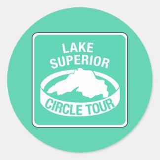 Viaje del círculo del lago Superior, señal de Pegatina Redonda