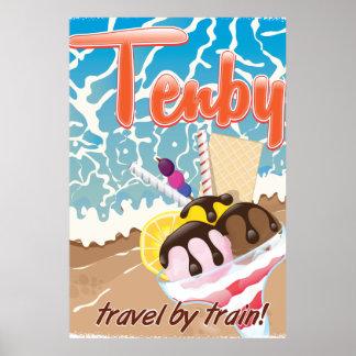 Viaje del dibujo animado del helado de Tenby Póster