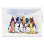 Viaje del esquí del pingüino felicitacion
