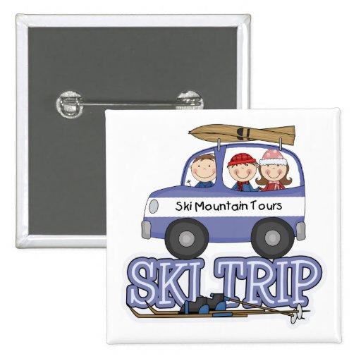 Viaje del esquí pin cuadrada 5 cm