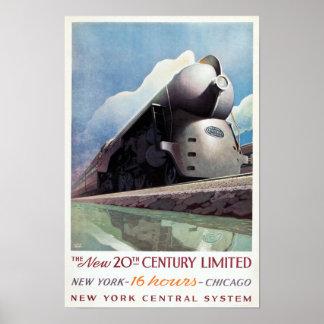 Viaje del ferrocarril del art déco del vintage, póster