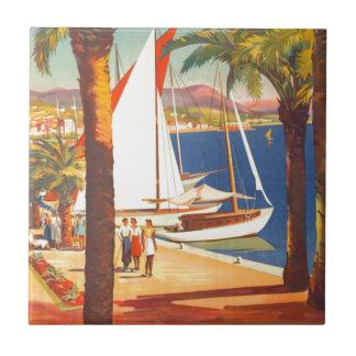 Viaje del francés de Cote d'Azur del vintage Azulejo Cuadrado Pequeño