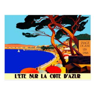 Viaje del francés de Cote d'Azur del vintage Postales