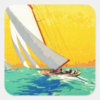 Viaje del francés de los barcos de vela del pegatina cuadrada