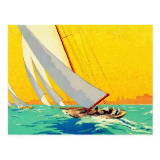 Viaje del francés de los barcos de vela del postal
