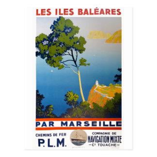 Viaje del francés del vintage de Balearic Island Tarjeta Postal