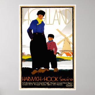 Viaje del gancho de Harwich- del vintage Póster