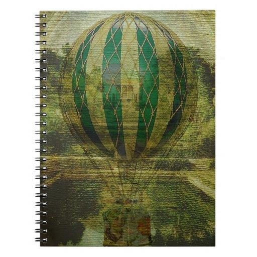 Viaje del globo del aire caliente libro de apuntes con espiral