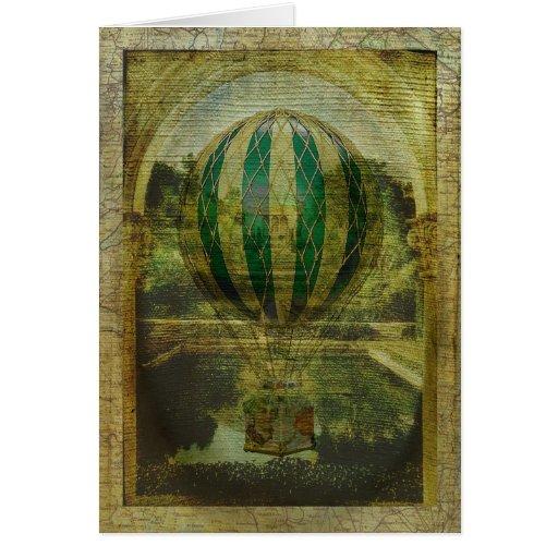Viaje del globo del aire caliente tarjeta de felicitación