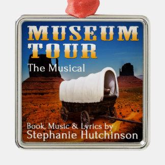 Viaje del museo el Musical Adorno Cuadrado Plateado