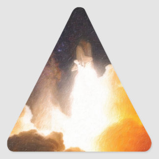 viaje del paisaje al desconocido pegatina triangular