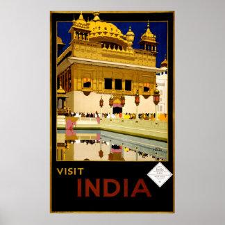 Viaje del vintage 1929 de la India de la visita Póster