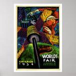 Viaje del vintage 1934 de la feria de mundo de Chi Posters