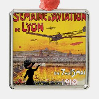 Viaje del vintage, aeroplanos salón aeronáutico, adorno navideño cuadrado de metal