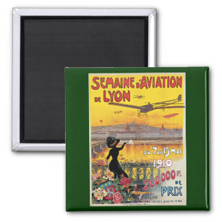 Viaje del vintage, aeroplanos salón aeronáutico, imán cuadrado