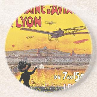 Viaje del vintage, aeroplanos salón aeronáutico, posavasos manualidades