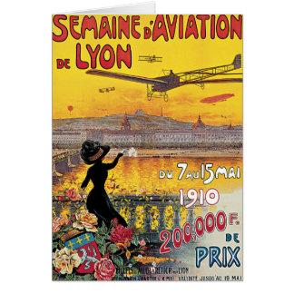 Viaje del vintage, aeroplanos salón aeronáutico, tarjeta de felicitación