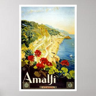 Viaje del vintage, Amalfi Póster