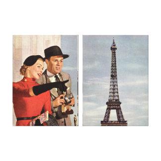 Viaje del vintage - amantes en París Impresion De Lienzo