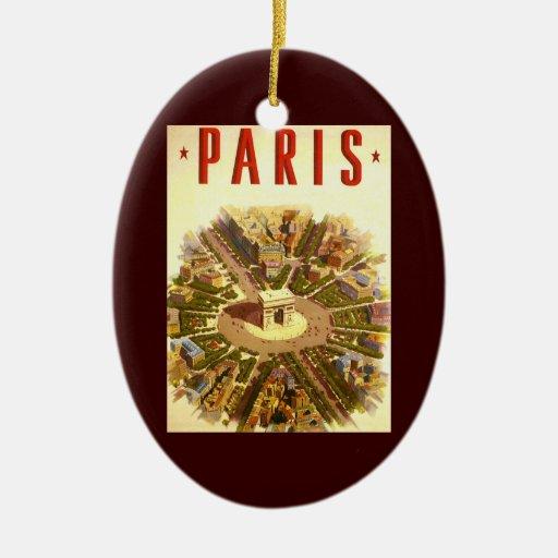 Viaje del vintage, Arco del Triunfo París Francia Ornamente De Reyes