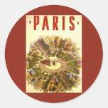 Viaje del vintage, Arco del Triunfo París Francia Pegatina Redonda