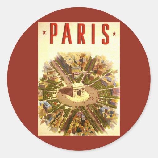 Viaje del vintage, Arco del Triunfo París Francia Etiqueta Redonda