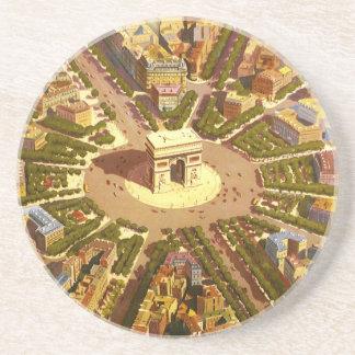 Viaje del vintage, Arco del Triunfo París Francia Posavasos De Arenisca