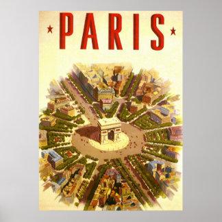 Viaje del vintage, Arco del Triunfo París Francia Póster
