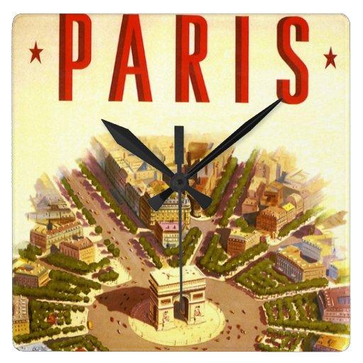 Viaje del vintage, Arco del Triunfo París Francia Reloj Cuadrado